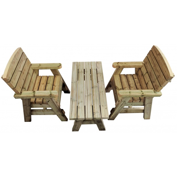 birds eye view of a wooden garden coffee table and 2 chairs