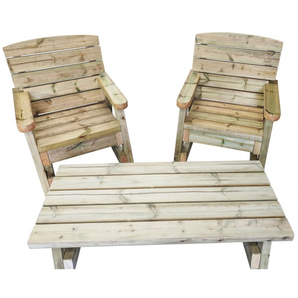 front view of timber garden coffee table and 2 wooden garden chairs