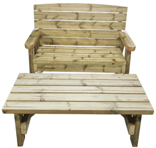 vue de face de la table de jardin en bois et d'un banc en bois