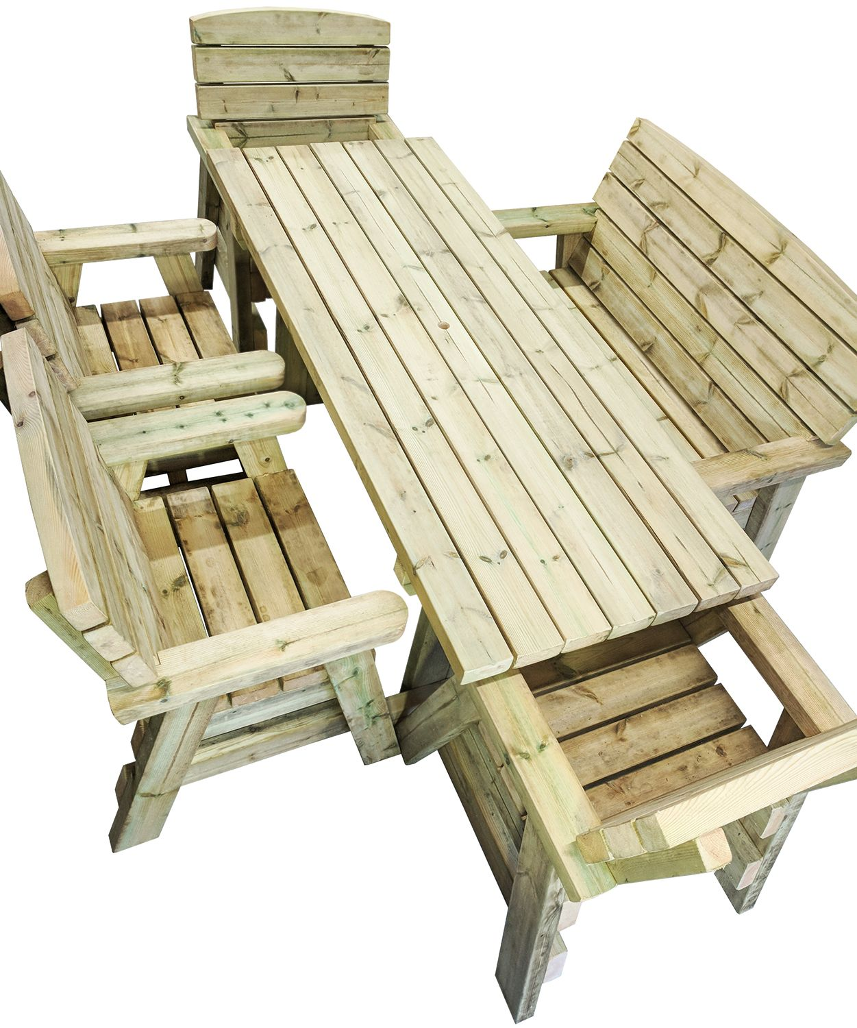 six-seater outdoor dining set with four chairs and a bench
