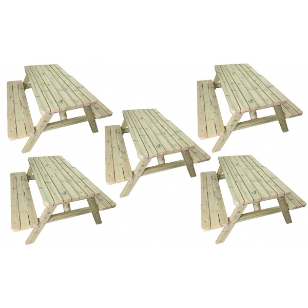 five standard wooden pub benches
