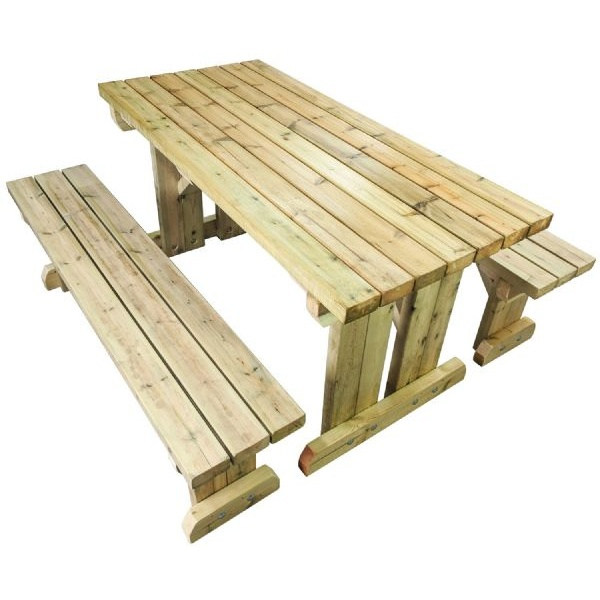 right hand view of a freestanding picnic bench