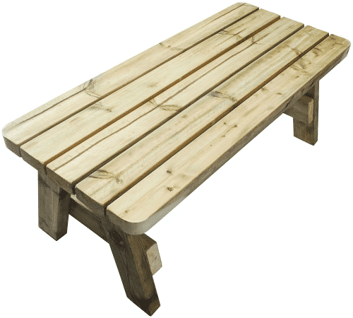 side view of wooden outdoor coffee table