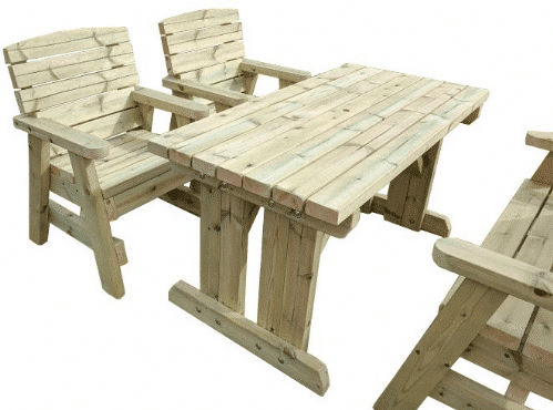 free standing wooden garden table with 4 wooden chairs pulled out