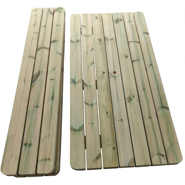 deconstructed wooden picnic table top and seats