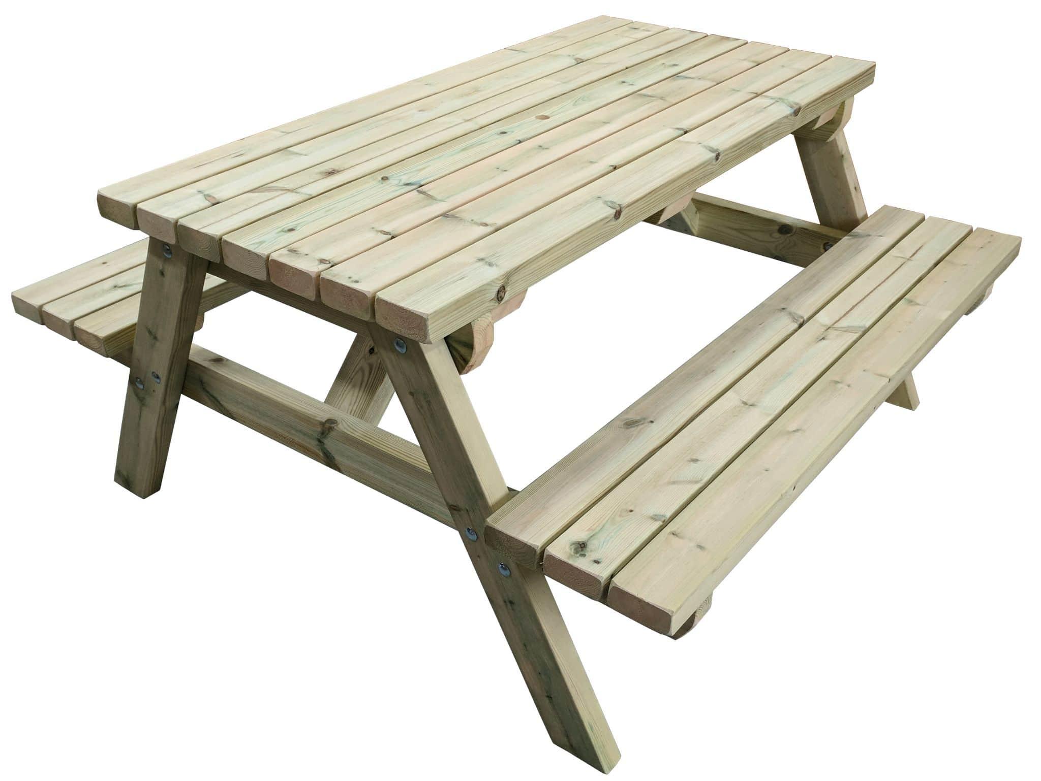 Una mesa de picnic de diseño de bastidor de madera sobre un fondo blanco.