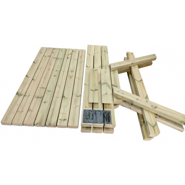 Dismantled a frame wooden picnic table