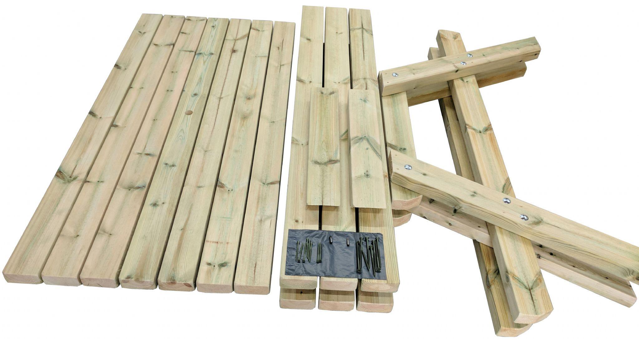 Mesa de picnic de madera con estructura en A desmontada