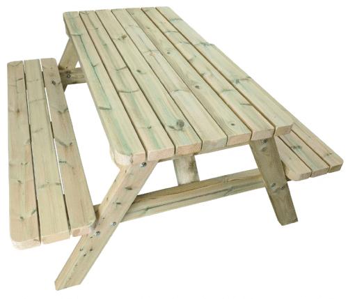 Banco de picnic de madera con marco de madera
