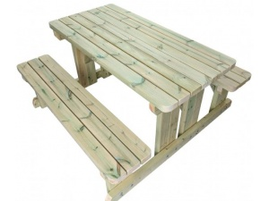 product image of a wooden walk in pub bench