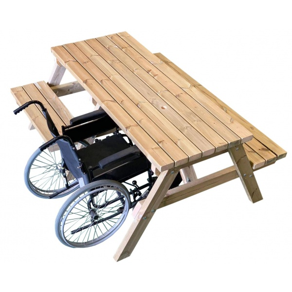 wheelchair accessible picnic table with a parked wheelchair on the left hand side