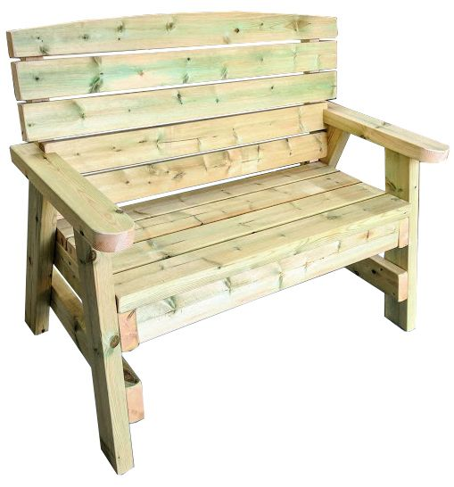 A side on view of a heavy duty garden bench