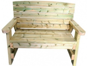 Straight on view of the heavy duty garden bench