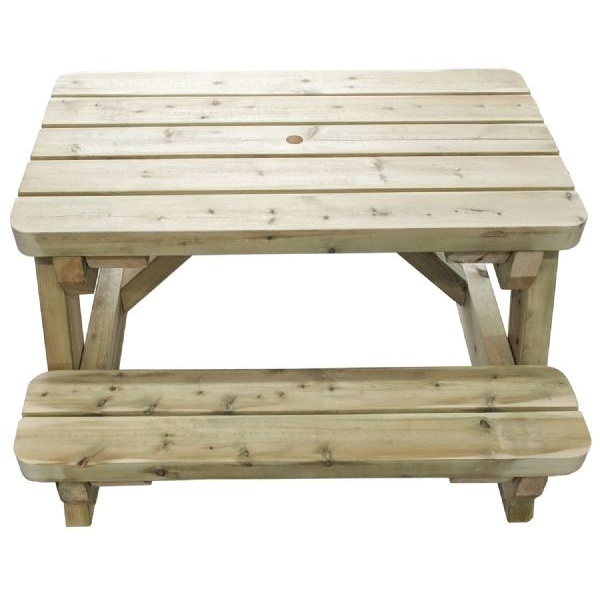 Side on view of our children's picnic table