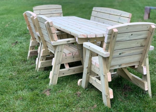 six seater wooden outdoor dining set