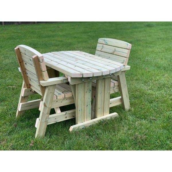 two seater wooden outdoor dining table