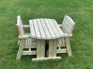 Wooden two seater outdoor dining set