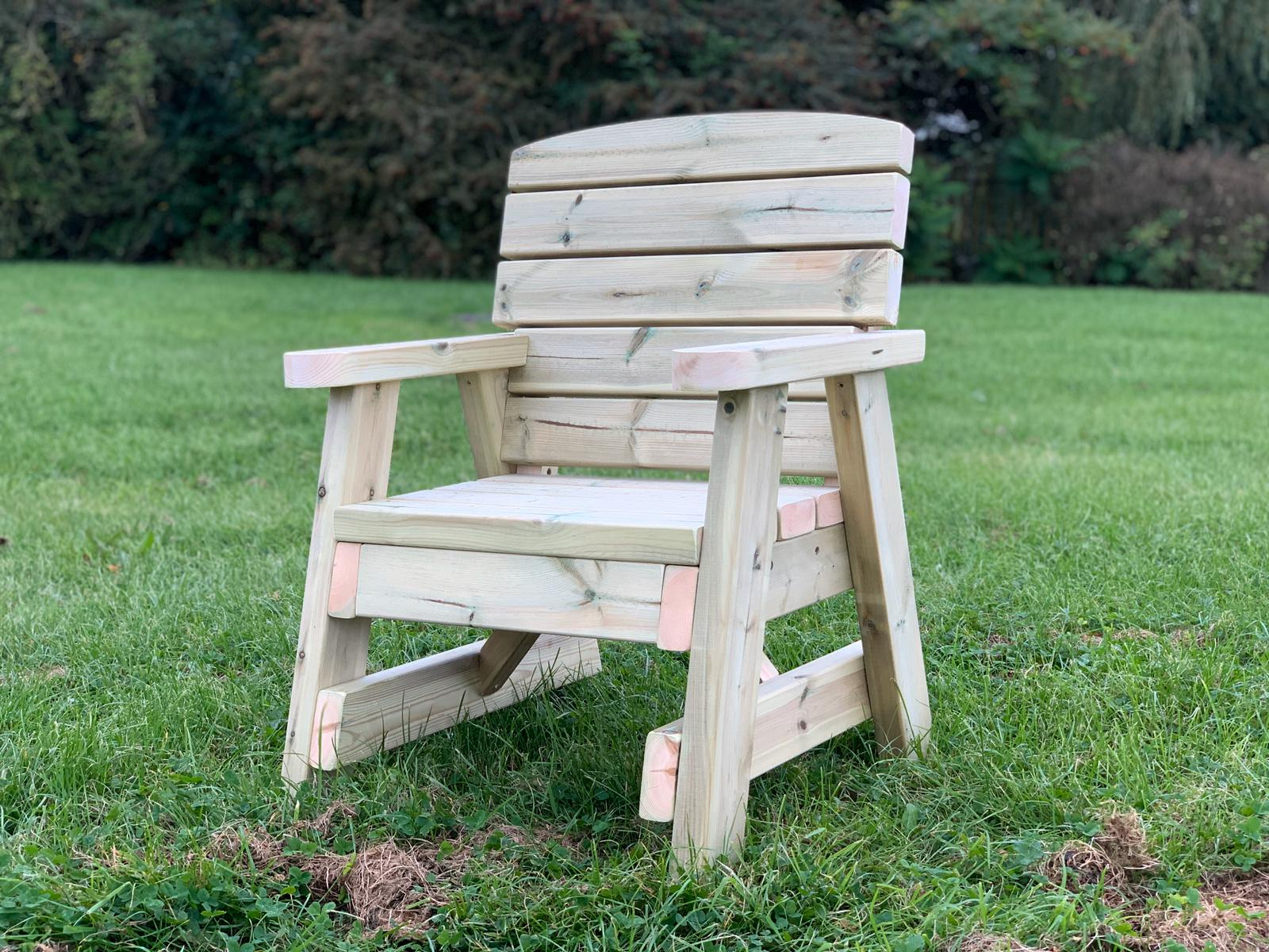 right side view of a single wooden garden chair
