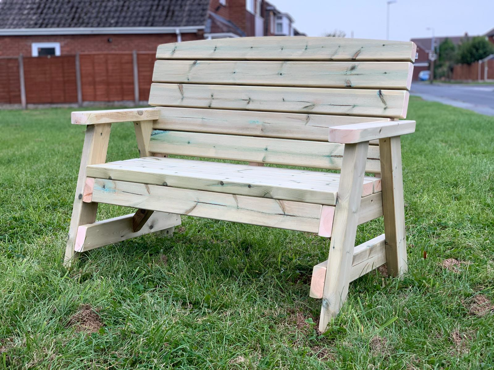 right hand view of two seater wooden garden bench