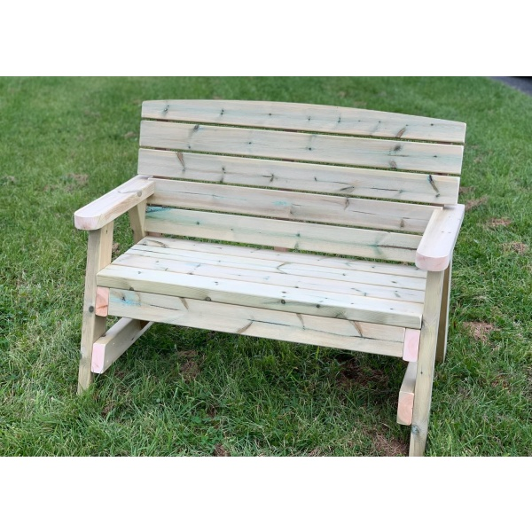 front view of two seater wooden bench