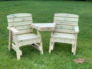 two seater wooden love seat