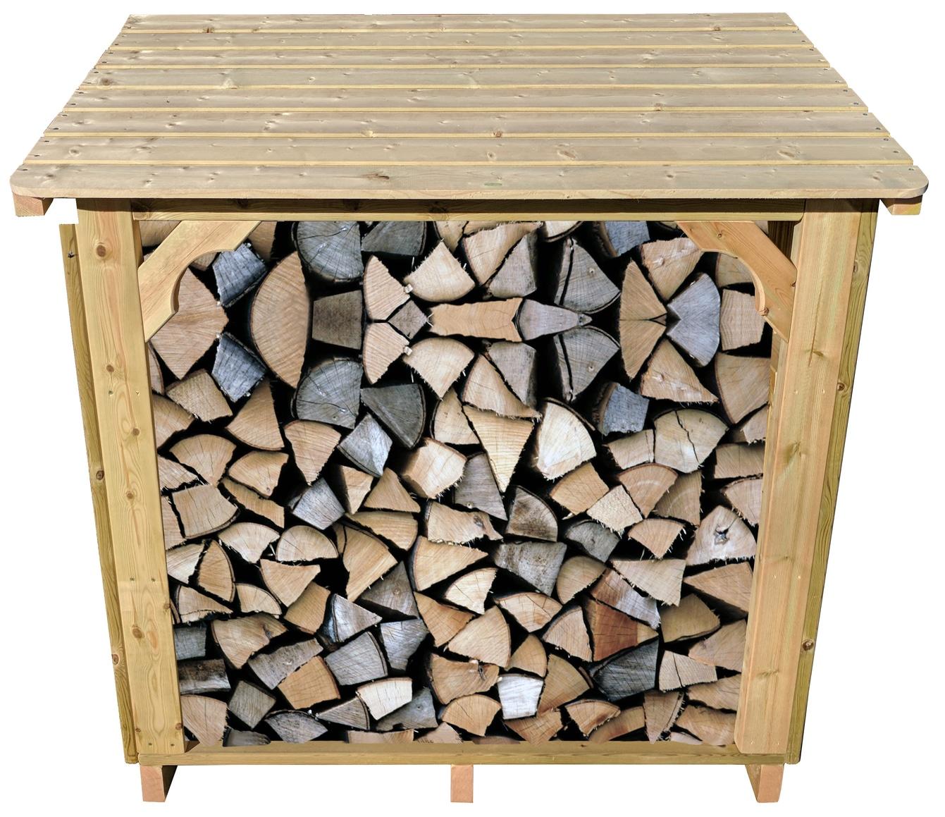 La tienda de troncos Ashmore llena de troncos