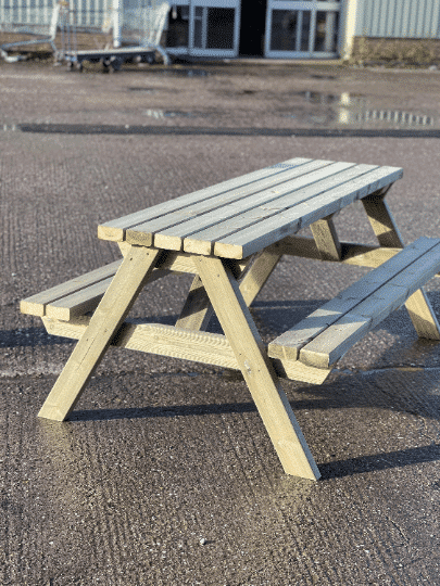 Angled view of picnic benches