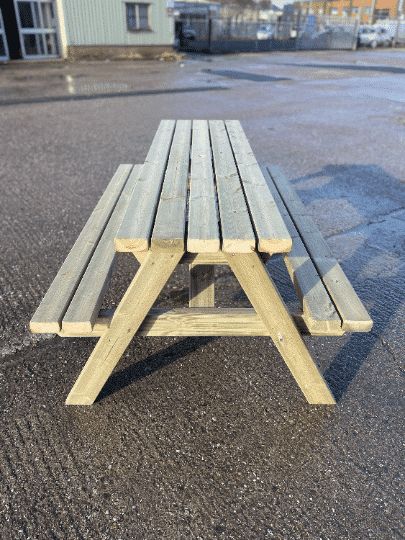 Side view of picnic bench